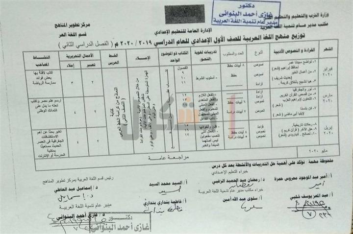 توزيع منهج اللغة العربية الصف الأول الاعدادي 2020 الترم الثاني