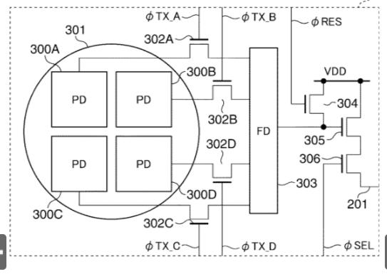 Схема датчиков автофокуса из патента Canon