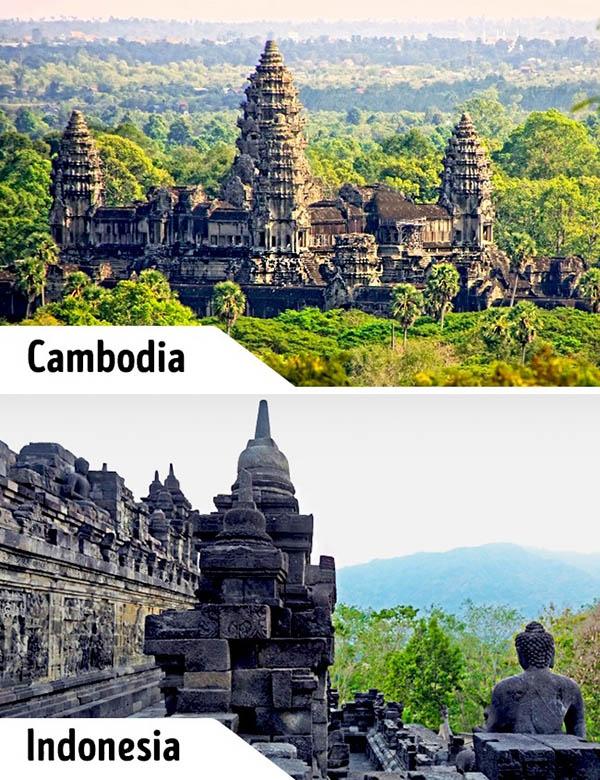 Angkor Wat va Borobudur deu la hai cong trinh kien truc noi tieng the gioi