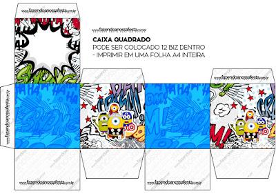 Caja Cubo para Imprimir Gratis de Minions Super Héroes.