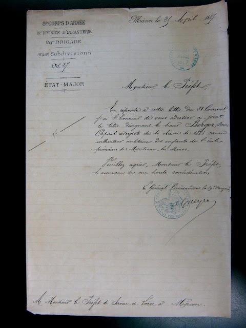 Lettre du Général Commandant de région nommant M. Berger Instructeur aux écoles de Montceau