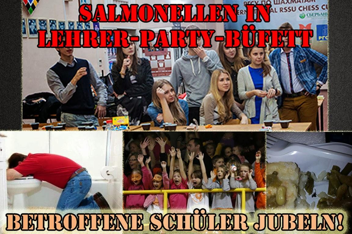 Salmonellen in Lehrer Party Büfett - Schule lustig mit Text