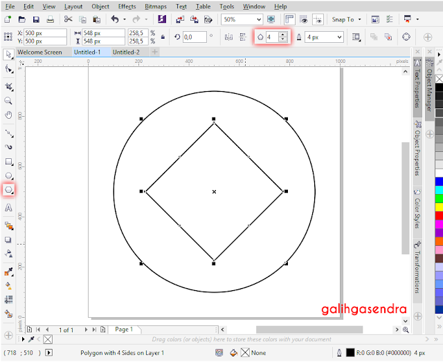 Corel Draw snap align to center odd triangle polygon center circle
