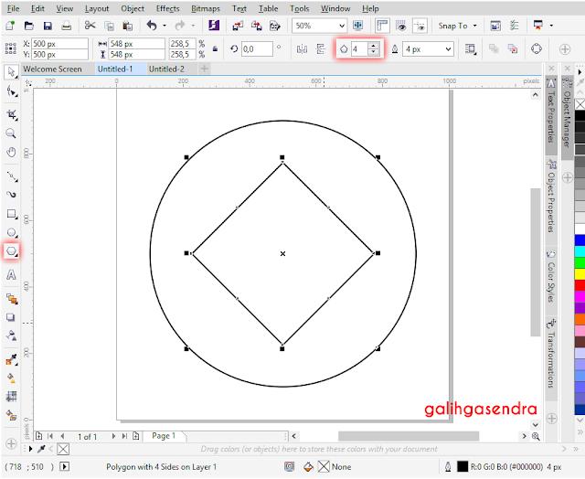Corel Draw snap align to center odd triangle polygon center circle