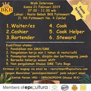 Info Lowongan Kerja Resto Bebek BKP Fatmawati Jakarta Selatan Untuk Bagian Waiters, Cashier, Bartender, Cook. Cook Helper, Stepward Pendidikan Terakhir Minimal Ijazah SMA/SMK Laki-Laki Wanita Umur Minimal 21 Tahun