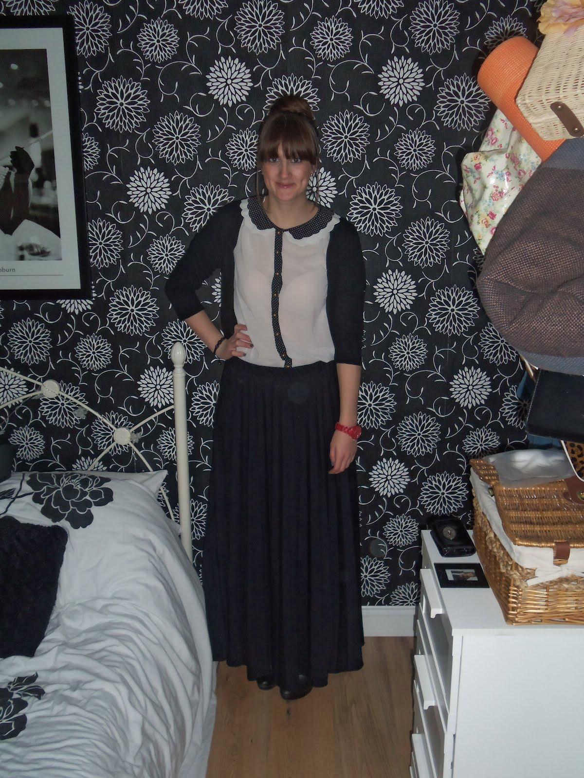 b4dcfcba5 Polka dot peter pan collar sheer shirt: Primark - gift. Black 3/4 length  cardigan: Primark Black pleated jersey maxi skirt: Clothing at Tesco