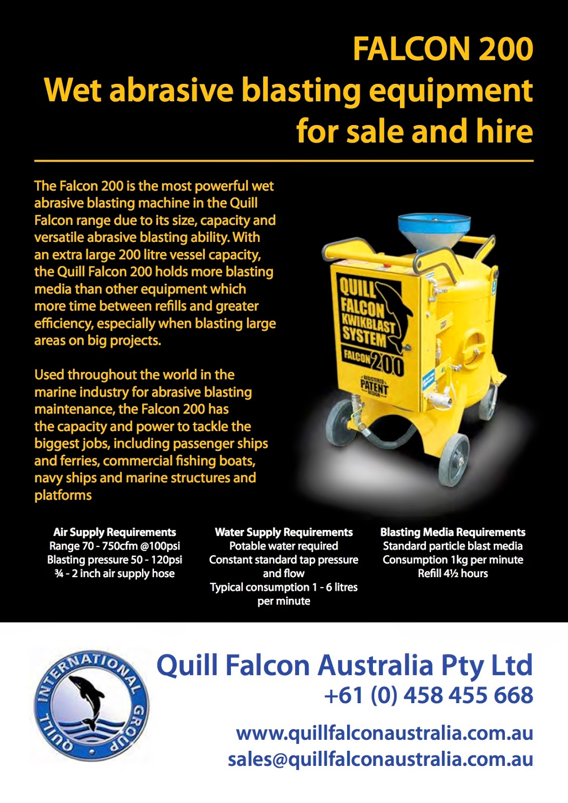 Wet abrasive blasting equipment for sale and hire in Australia, New Zealand, Vietnam and the Asia Pacific