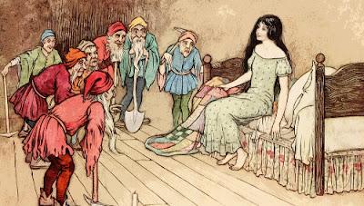 illustrazione vintage Biancaneve e i sette nani