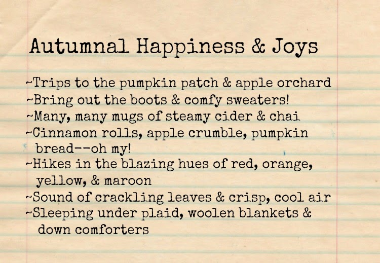 Autumnal Joy List