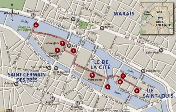 mapa isla de la Cité París