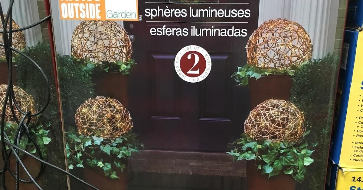 Inside Outside Garden Lighted LED Spheres Set Of 2