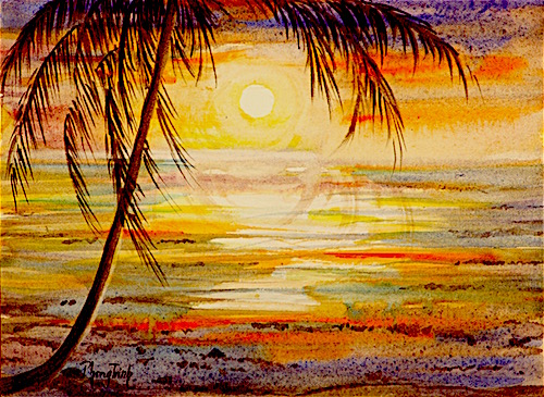 Tropical Moon - A watercolour from my imagination. Feeling good to visualise inner world with watercolour. Pochade style.  I love tropical.  The climate change and unfavourable local situations, my heart lives with imagination.. now it is onto paper.. better than I thought! :) I can sit in comfort place, enjoy a warm drink, wonderful visual and share with friends…  we can all forget about the sand flies and mosquitoes….and all troubles in the world...  only the finest.. that's the art! :-D  Have a good day!