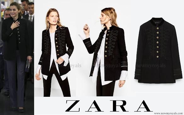 Queen Letizia wore ZARA Military Jacket