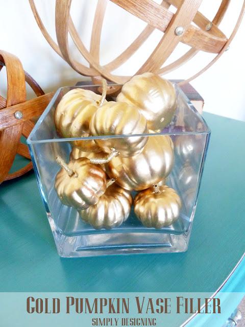 Gold Pumpkin Vase Filler | #diy #pbknockoff #fall #thanksgiving #gold #pumpkins
