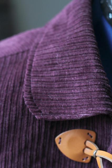 Grainline Cascade Duffle Coat made from Sewing Studio Wine Corduroy - collar