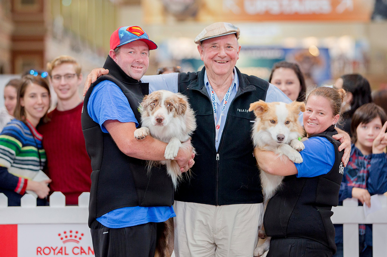 Dr Harry Cooper and Flipping Disc Dogz team at the 2018 Brisbane Dog Lovers Show