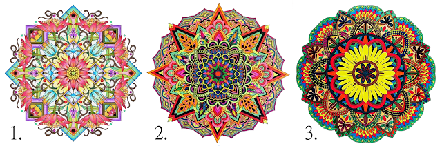 Mandala or the eye is a circular figure that represents the universe in Buddhist and Hindu symbolism, and everyone should choose the one around which he or she first attracts him or her to discover more about him/herself.    The picture shows three mandalas, each of which carries an individual meaning and describes the characteristics of a person.