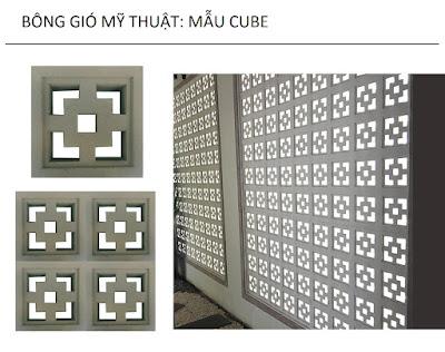 Bông gió mỹ thuật mẫu cube