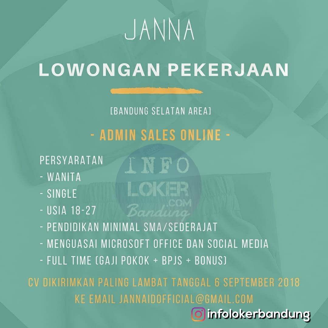 Lowongan Kerja Janna ID Bandung September 2018