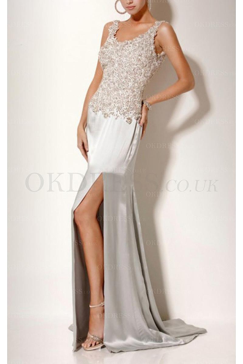 Long Sleeveless Backless Floor-length Scoop Prom Dresses