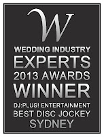 DJ:Plus! Entertainment Winner Best Wedding DJ Sydney, NSW & Australia at 2013 Wedding Industry Experts Awards