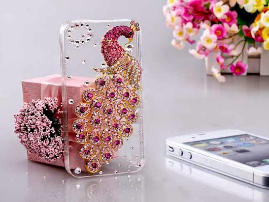 Pink/ Maroon color peacock rhinestone mobile cover case for Samsung and iPhones