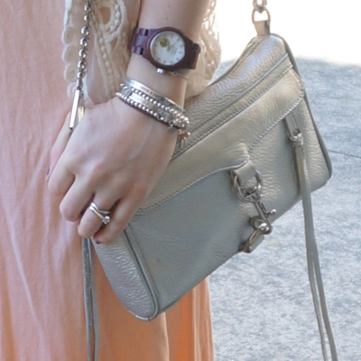 ombre dress Rebecca MInkoff metallic mini MAC bag silver bracelet stack JORD wood watch | Away From The Blue