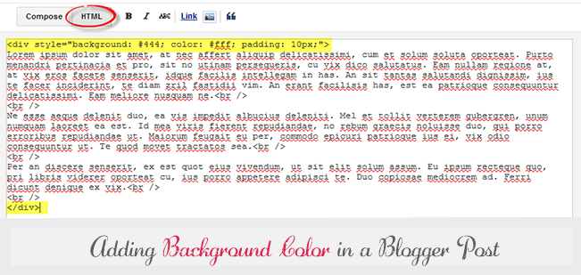 apply background color to blogger post