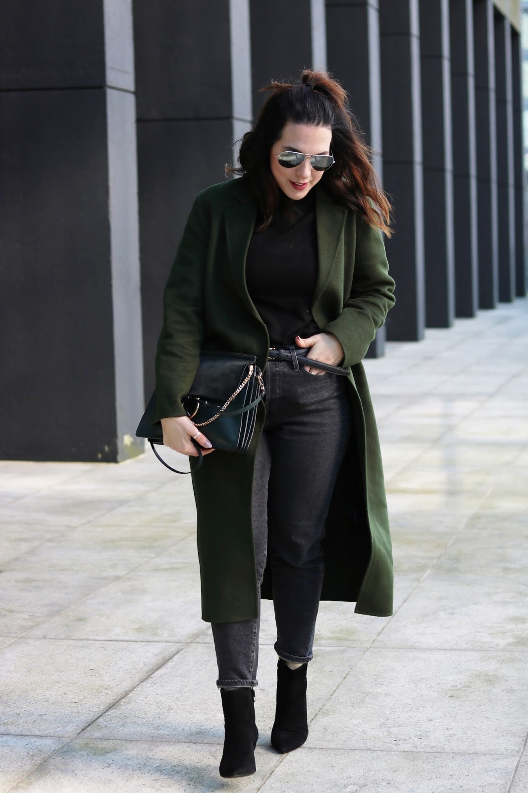 le chateau turtleneck outfit sandro green wool coat levis wedgie jeans geox ankle boots chloe faye bag