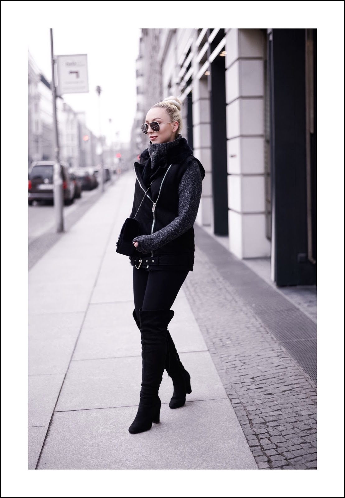 all black outfit_suede waistcoat_winter streetstyle