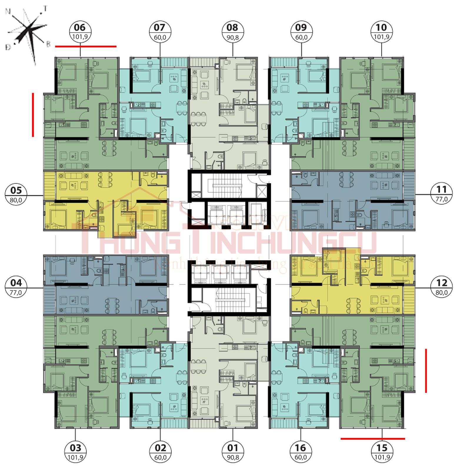 Mặt bằng điển hình tầng 10, 11, 11A, 27-30 - Tòa Autumn GoldSeason