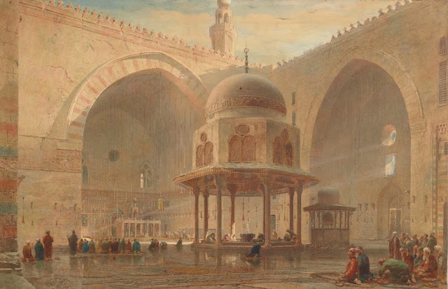 "Artwork, XIX art, watercolours, ""Interior of the Mosque of Sultan Hassan, Cairo"" by Edward Angelo Goodall, 1880."