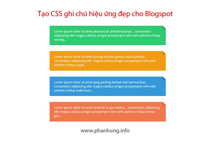 Hướng dẫn tạo CSS ghi chú hiệu ứng đẹp cho Blogspot