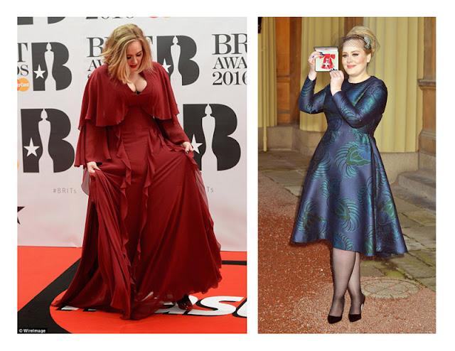 Адель в свободном красном платье и в прилегающем синем платье
