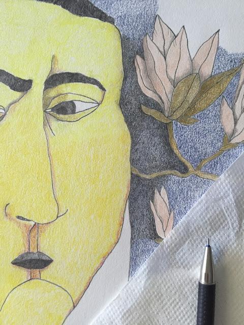 Retrato histórico. Ilustración de hombre. Lápices de Colores. Grafito. Proceso de dibujo. Detalle dibujo flor.