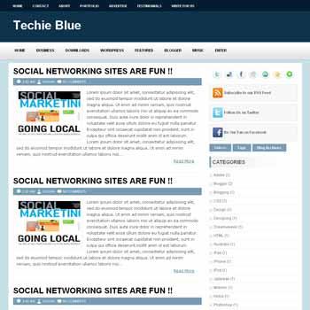 Techie Blue blogger template. image slider blogger template. 3 column footer template blog