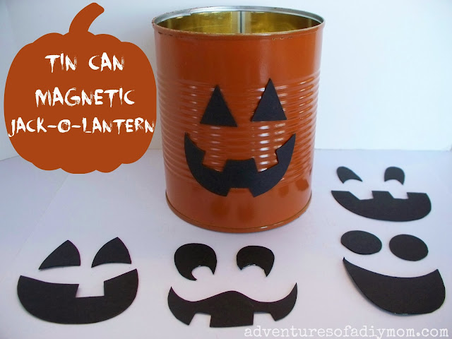 Tin Can Mix and Match Magnetic Jack-O-Lantern