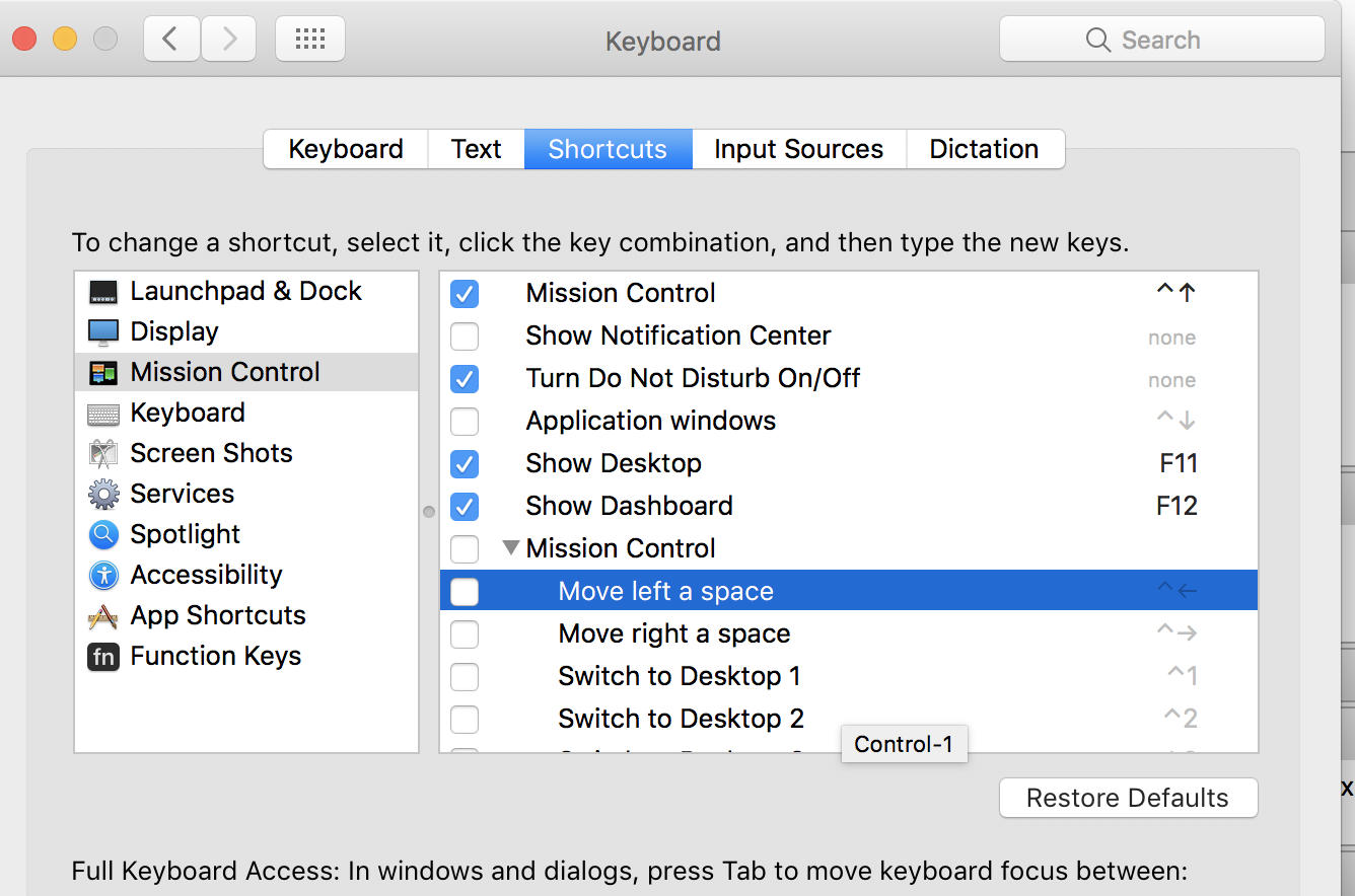 Just Disable Them From System Preferences > Keyboard > Shortcuts > Mission  Control And You Should Osx Keyboard Shortcuts Screenshot