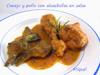 Conejo y pollo con alcachofas en salsa