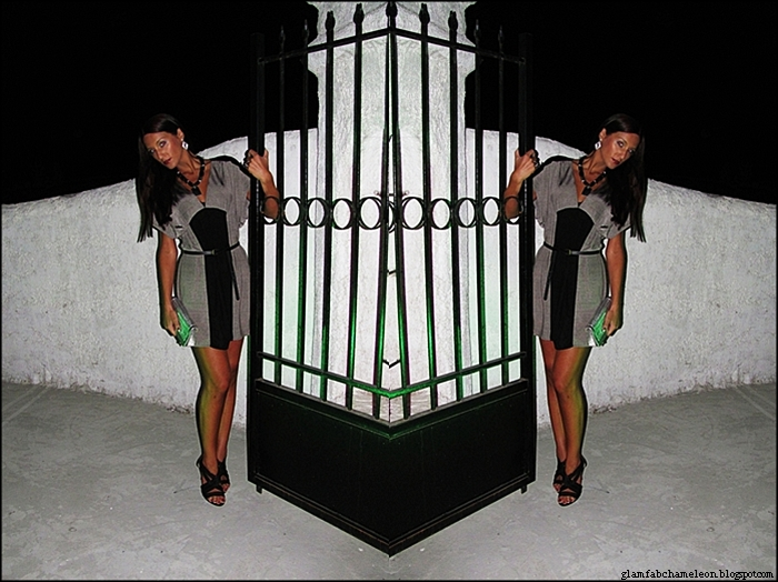 black and gray silver mini dress