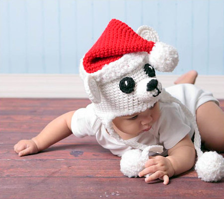 Christmas baby polar bear santa hat Crochet pattern