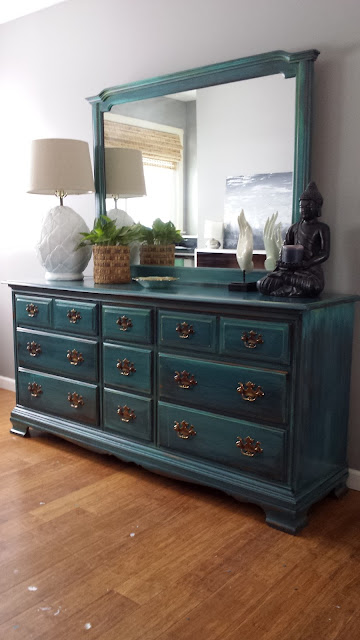 Bohemian Painted dresser, teal