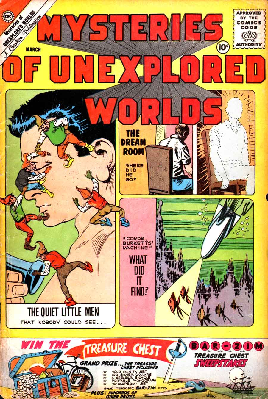 Mysteries of Unexplored Worlds v1 #23 charlton comic book cover art by Steve Ditko