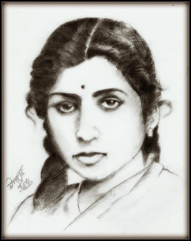 Sketches and Drawings : Lata Mangeshkar - Pencil sketch