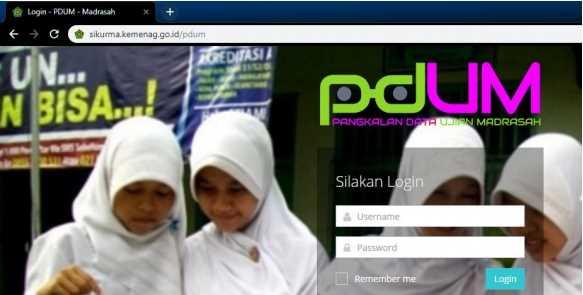 Alamat Halaman Web Login Aplikasi PDUM di http://sikurma.kemenag.go.id/pdum/