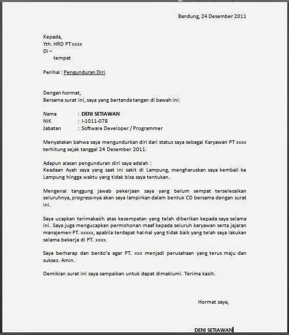 Contoh Resignation Letter Download Artisteer Web Design Software And ...