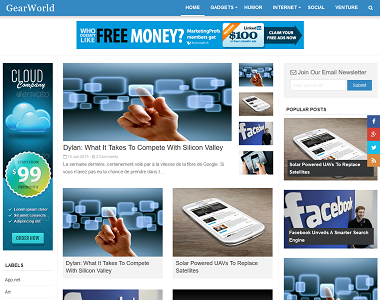 Gear world is a blue color 3 column magazine theme for blogspot blogger.