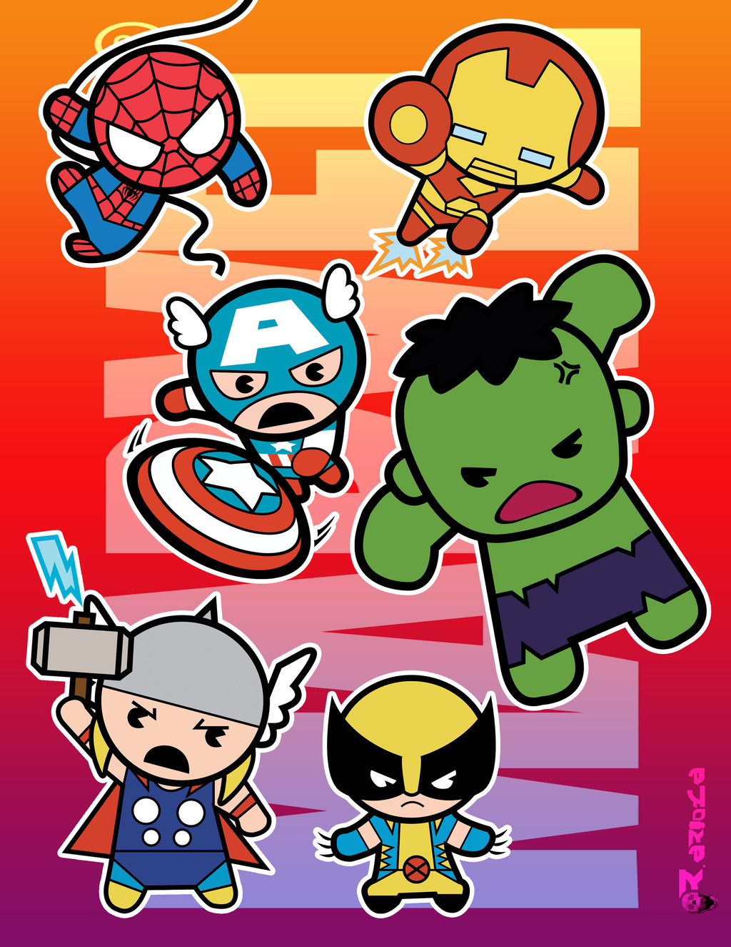 Marvel Super Heroes 60 Superhéroes: Super Héroes Marvel En Versión Chibi.