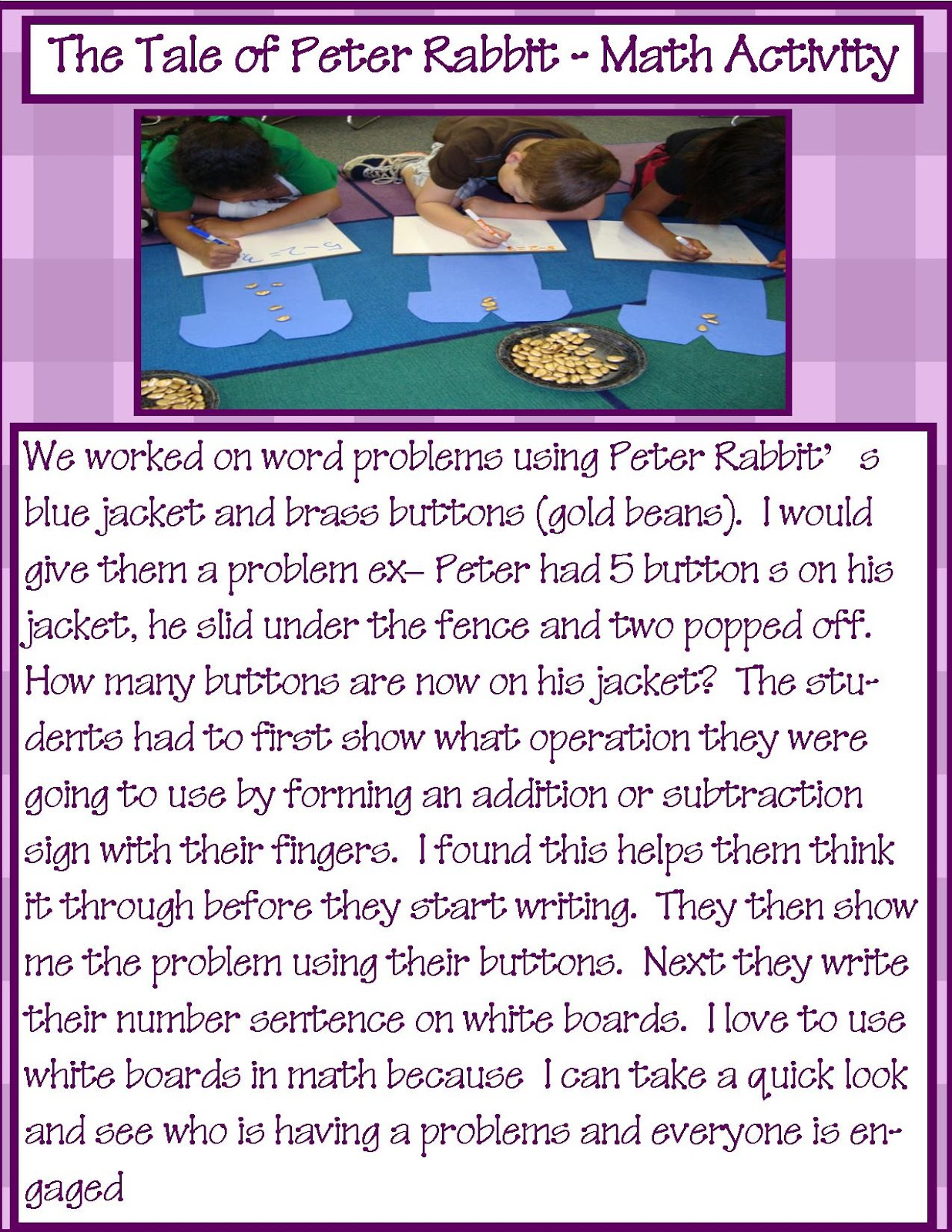 Golden Gang Kindergarten The Tale For Peter Rabbit Math