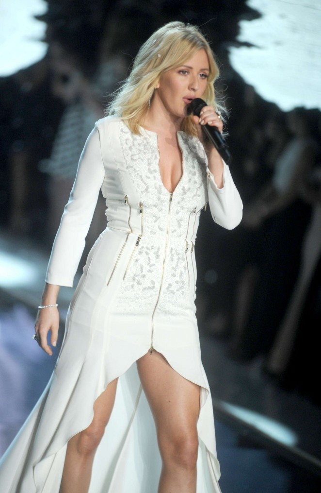Singer Ellie Goulding Long Hair Stills In White Dress
